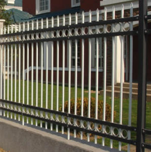 Four Rail Steel Picket Fence