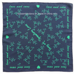 China Factory Produce Customized Logo Print Navy Blue Paisley Cotton Headwrap Bandana pictures & photos