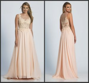 Coral Prom Gowns Lace A-Line Bridesmaid Evening Dress M128 pictures & photos