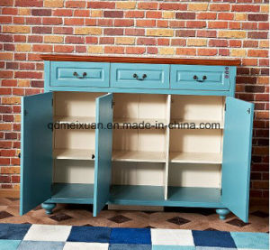 Blue European-Style Wooden Shoe Ark American Country Porch Ark Wood Porch Shoe Ark (M-X3323) pictures & photos