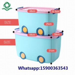 New Design Household Cartoon Plastic Storage Container with Wheel pictures & photos