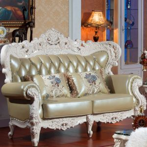 Leather Sofa with Wood Sofa Frame and Table (501) pictures & photos
