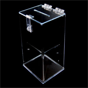 Plastic Acrylic Ballot Box with Sign Holder pictures & photos