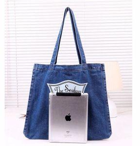 Korean Women Casual Solid Beach Big Jeans Denim Ladies Tote Shoulder Bag pictures & photos