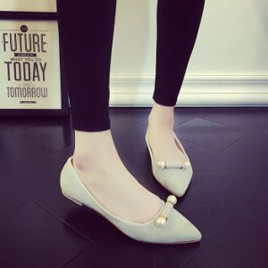 Four Colors Sweet Women Flat Heel Single Shoes Pearl Decoration Pure Ccolor Flat Bottomed Casual Shoes pictures & photos