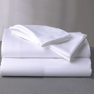 100% Cotton Queen Size 300tc Satin Weave White Hotel Bed Sheet Set