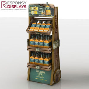 Floor Wood Supermarket Shelf Wine Display Stand with Poster and Logo pictures & photos
