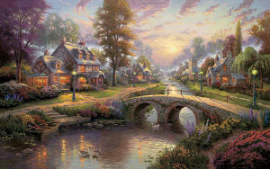 High Quality Repro Thomas Kinkade Oil Painting (AC030)
