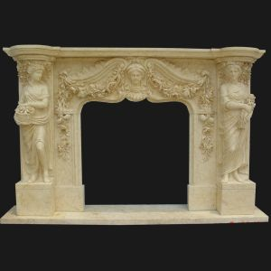 Beige Marble Statuary Fireplace Mantel (FRP507) pictures & photos