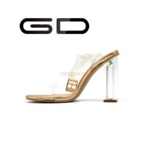 Stylish Transparent Heels Custom Big Size Sandals Women Shoes pictures & photos