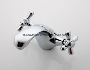 Classic Silver Dual Handle Bathroom Brass Basin Mixer pictures & photos