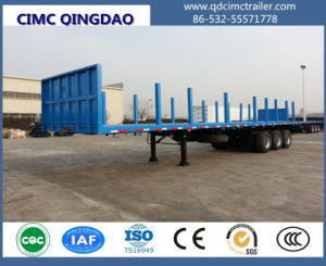 Cimc 2 Axle 35t Container Dedicated Flat Lowbed Semi Trailer Truck Chassis pictures & photos