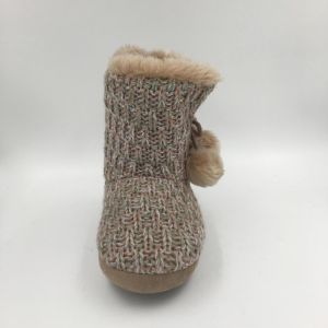 Lds Knit Brown MID-Calf Indoor Boots pictures & photos