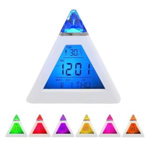 Triangle Digital Alarm Clock with 7 LED Backlight & Temperature pictures & photos