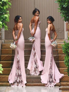 Spaghetti Strap Lace Zipper-up Mermaid Bridesmaid Dress (Dream-100022) pictures & photos