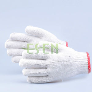 7/10 Gauge White Knitted Cotton Gloves Manufacturer in China/Wholesale Cotton Gloves pictures & photos