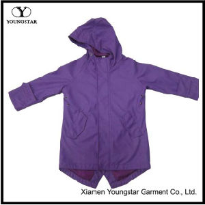 Girls Purple Rain Jacket Slicker Clothing Womens Polyester Raincoat with Hood pictures & photos