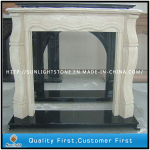 White Marble Fireplace with Beautiful Flower Electric Fireplace Mantel Surround pictures & photos