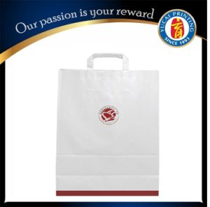 Custom White Kraft Paper Shopping Bag with Logo Print pictures & photos