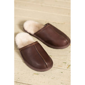 Genuine Leather Men′s Indoor Scuff Sheepskin Slippers pictures & photos
