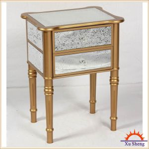 Home Furniture Champagne Elegant 2 Drawer Cabinet with Antique Mirror Accents pictures & photos