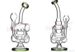 Hitman Glass Water Pipe 14mm Male Joint Oil Rigs Recycler Glass Water Pipe Mini Size Smoking Pipe Cake Shape Water Pipe pictures & photos
