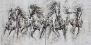 None Framed Group Oil Painting with Heavy Texture for Horse pictures & photos