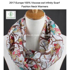 2017 Hot Sale Lady Fashion Viscose Infinity Scarf with Owl Printed for Necker pictures & photos
