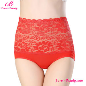 Hollow out See Through Red High Waist Lace Ladies Sexy Underwear pictures & photos