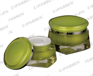 New Arrival Green Acrylic Cream Jar for Cosmetic Packaging (PPC-ACJ-107) pictures & photos