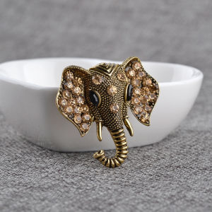 Retro Rhinestone Elephant Brooch Animal Brooches for Men Women pictures & photos