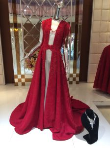 Unique Design New Arrival Red Floor Length Shawl Evening Dress pictures & photos