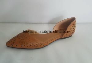 Lady Genuine Leather Laser with Pointed Flat Shoe pictures & photos