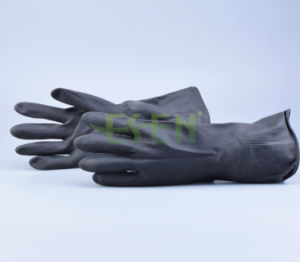 Black Chemical Resistant Industrial Latex Rubber Work Gloves pictures & photos