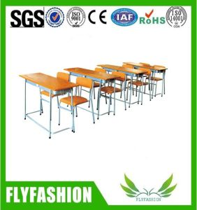 Popular Student Furniture Wooden School Double Desk and Chair for Sale (SF-59) pictures & photos