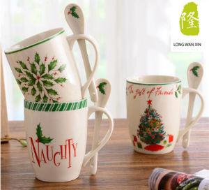 China Manufacturer Custom Logo 11oz Ceramic Mug with Spoon pictures & photos
