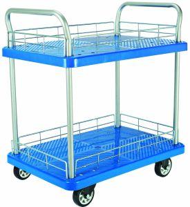 150kg Double Decker Blue Platform Trolley with Mesh Shelf pictures & photos