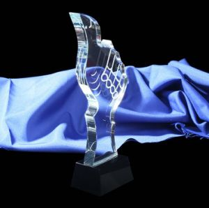 Thumb Shape Crystal Glass Trophy pictures & photos
