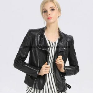 Fashion Women PU Lapel Jacket Outer Wear Outdoor Coat pictures & photos