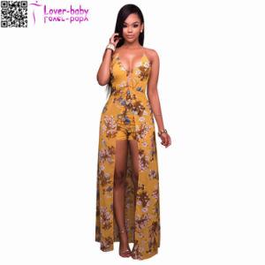 Iona Deep V Neck Mustard Floral Romper Maxi Dress L51409 pictures & photos
