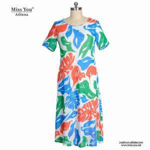 Miss You Ailinna 802030-2 Women Print Lip Pattern Cotton Dress pictures & photos