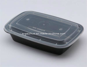 10-Pck 600ml Black Plastic Single Compartment Disposable Food Container pictures & photos