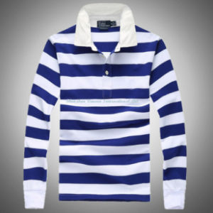 Striped Polo-Shirt with Long Sleeve pictures & photos