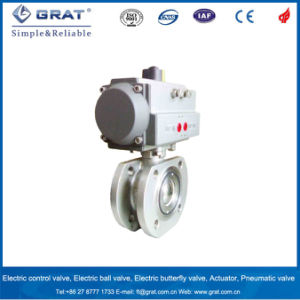 Dn15-100 Stainless Steel Flanged Pneumatic Ball Valve pictures & photos