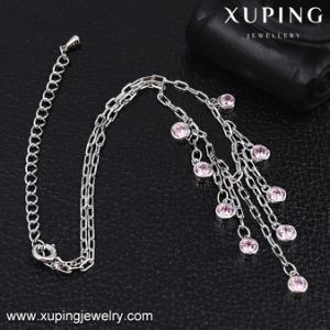 74565 Fashion Xuping Rhodium Plated Zircon Anklet for Foot pictures & photos