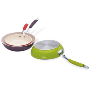 Colorful Aluminum Frying Pans with Silicon Covered Handle