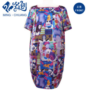 Ladies Chiffon Two Pockets Short Dress pictures & photos