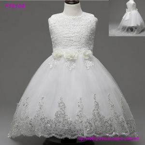 2017 Beautiful White Flower Girls Dresses Beaded Lace Appliqued Bows Pageant Gowns for Kids Wedding Party pictures & photos