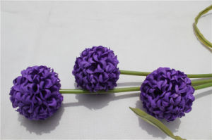 Wholesale 3 Heads Purple Artificial Flowers Hydrangea Real Touch Hydrangea pictures & photos