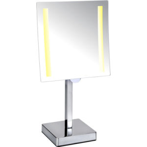 Free Standing Square Single Sided Hotel LED Magnifying Mirror pictures & photos